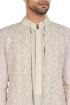 Ivory & pink chanderi front open textured achkan jacket with kurta & churidar