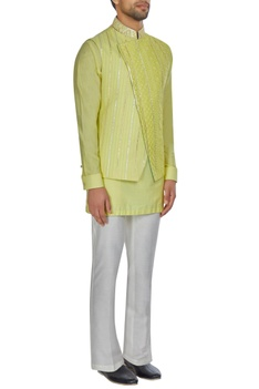 Yellow spun silk overlap lucknowi bandi jacket