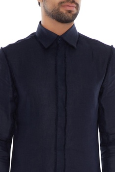 Midnight blue linen solid shirt