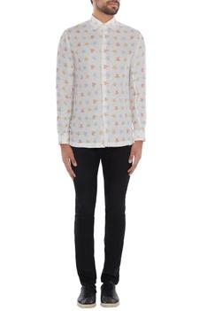 Ivory linen printed shirt
