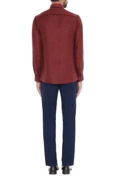 Wine linen solid shirt