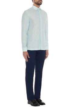 Powder blue linen solid shirt