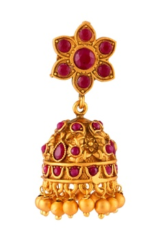 Jhumka earrings with tiered necklace