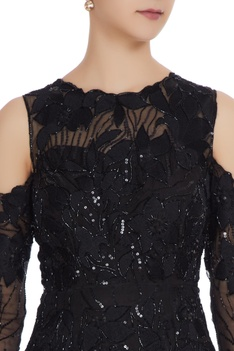 Sequin & cutdana bead embroidered cold-shoulder gown