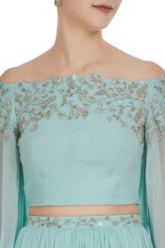 Hand embroidered cutdana off-shoulder blouse with lehenga