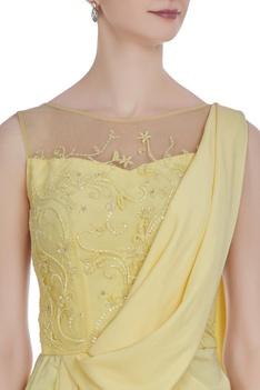 Crepe hand embroidered cutdana & sequin draped saree