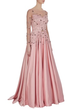 Satin bridal flared gown in crystals & sequin work