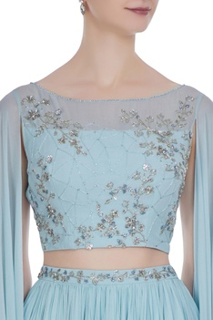 Cape sleeve hand embroidered blouse with pleated lehenga