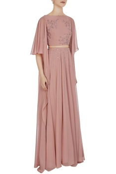 Draped sleeves crop top with high waist pleated skirt