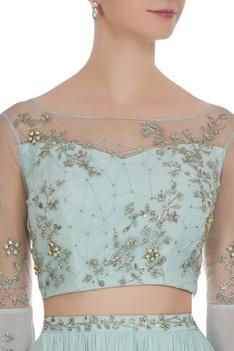 Hand embroidered cutdana & sequin cape sleeve blouse & lehenga