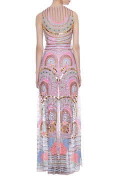 Millennial pink tulle & crepe embroidered straight jacket & pants