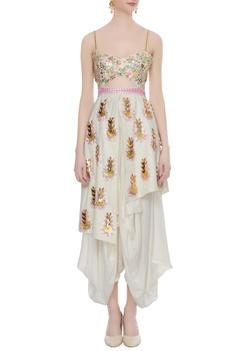 White matka silk embellished & embroidered japanese pants dhoti jumpsuit