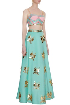 Mint green & pink neoprene embellished & embroidered blouse with lehenga & belt