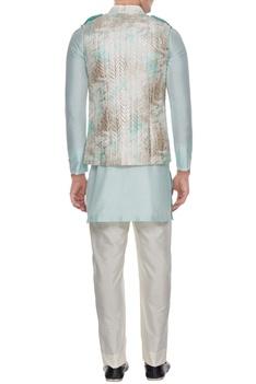 Off white & aqua blue tie dye & metallic quilted bundi with kurta