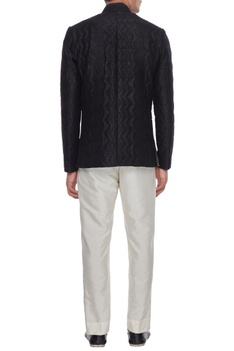 Black quilted bandhgala