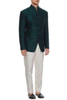 Emerald green quilted bandhgala