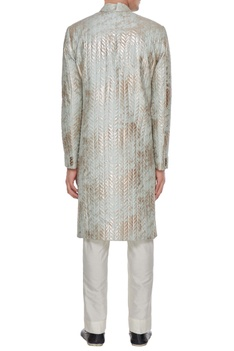 Pale blue quilted & metallic foiled sherwani with trousers