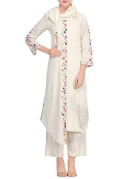 Off-white khadi a-line kurta set