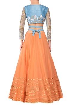 Orange georgette lehenga with blue raw silk blouse & blue net dupatta
