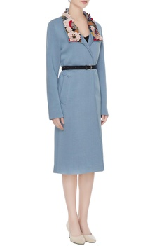 Dusty blue polyester hand embroidered trench coat jacket