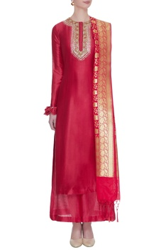Red chanderi silk gota embroidered kurta set