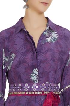 Ruffle sleeve coin embellished long shirt