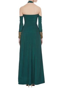 Crepe silk double-slit off-shoulder dress with pants