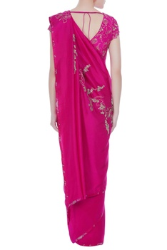 Hand woven saree with embroidered blouse.