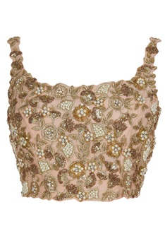 Swarovski & french wire bullions embroidered net saree with blouse
