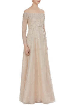 Hand-embroidered sequins & crystal work gown