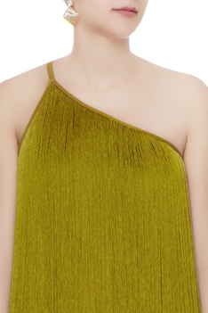Olive green crepe & silk tasseled babylon gown