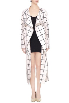 White cotton chequered long jacket