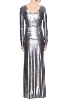 Silver metallic front cut-out gown