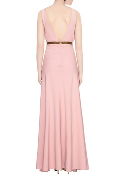 Blush pink crepe beaded side slit gown