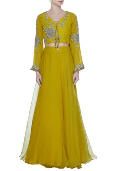 Yellow flared sleeve embroidered blouse with organza lehenga