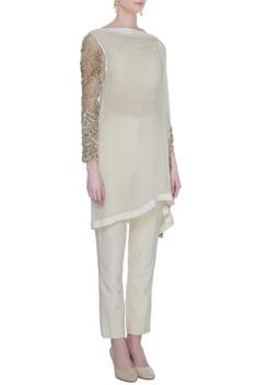 Ivory georgette silk kurta with pants