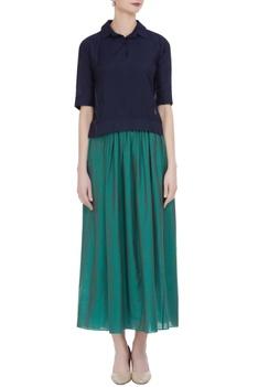 Muga silk polo shirt with pleated skirt