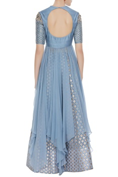 Sequin & pearl asymmetric kurta with skirt & net dupatta
