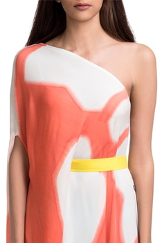 White & orange one-shoulder brush painted maxi dress