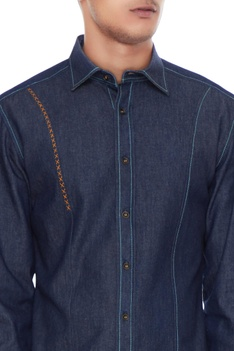 Dark blue cotton solid shirt