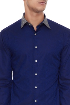 Royal blue & silver grey cotton solid shirt