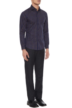 Blue & khaki cotton chequered shirt