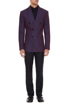 Purple linen solid double breasted jacket
