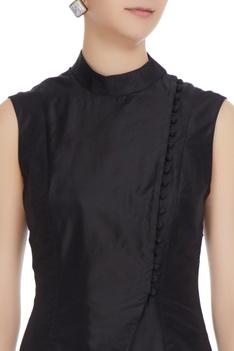 Black silk jacket with beige printed draped skirt
