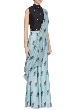 Teal blue & black concept saree with attached pants, drape & blouse