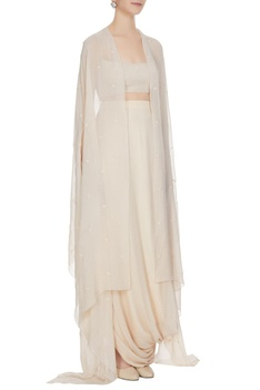 Beige fitted bustier with draped skirt & embellished cape