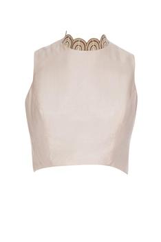 Nude beige silk & organza pearl embroidered saree set