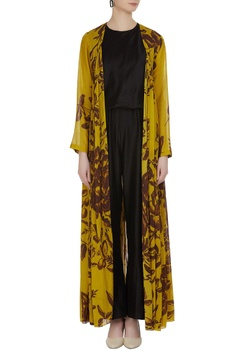 Floral printed mulmul front open cape