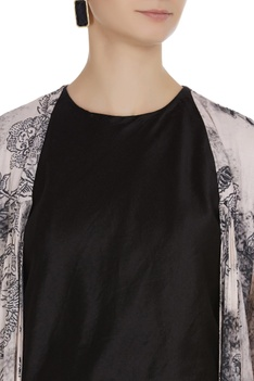 Mulmul jacket with sequin embroidered cuffs