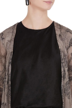 Floral printed front open cape
